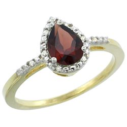Natural 1.53 ctw garnet & Diamond Engagement Ring 14K Yellow Gold - REF-25N5G
