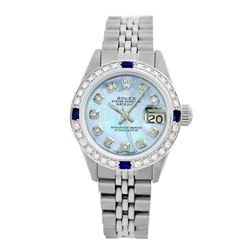 Rolex Pre-owned 26mm Womens Custom Blue MOP Stainless Steel - REF-470Y2W