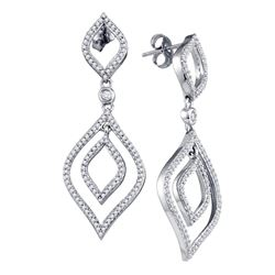 0.75 CTW Diamond Screwback Stud Dangle Oval Earrings 10KT White Gold - REF-52Y4X