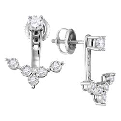 0.65 CTW Diamond Earrings 10KT White Gold - REF-69K2W