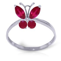Genuine 0.60 ctw Ruby Ring Jewelry 14KT White Gold - REF-30H5X