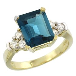Natural 2.86 ctw london-blue-topaz & Diamond Engagement Ring 10K Yellow Gold - REF-54R3Z