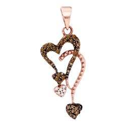 0.20 CTW Red Color Diamond Cluster Heart Droplet Pendant 10KT Rose Gold - REF-10K5W