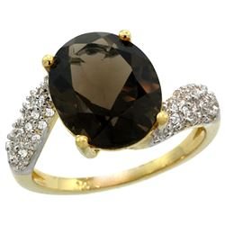 Natural 6.45 ctw smoky-topaz & Diamond Engagement Ring 14K Yellow Gold - REF-54K3R