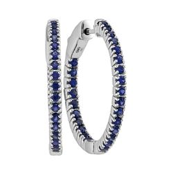 1.48 CTW Blue Sapphire In/Out Hoop Earrings 14KT White Gold - REF-75M2H