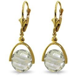 Genuine 6.5 ctw Green Amethyst Earrings Jewelry 14KT Yellow Gold - REF-43X2M