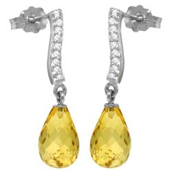 Genuine 4.78 ctw Citrine & Diamond Earrings Jewelry 14KT White Gold - REF-46P2H
