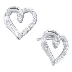 0.16 CTW Diamond Heart Love Stud Earrings 10KT White Gold - REF-12H2M
