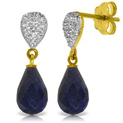 Genuine 6.63 ctw Sapphire & Diamond Earrings Jewelry 14KT Yellow Gold - REF-28V3W