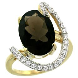 Natural 5.89 ctw Smoky-topaz & Diamond Engagement Ring 14K Yellow Gold - REF-91K4R