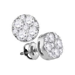 1 CTW Diamond Cluster Earrings 14KT White Gold - REF-97Y4X