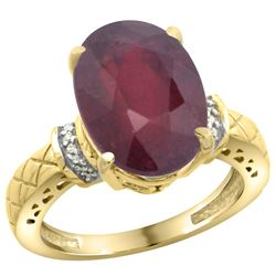 Natural 5.53 ctw Ruby & Diamond Engagement Ring 14K Yellow Gold - REF-67F6N