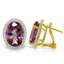 Genuine 10.56 ctw Amethyst & Diamond Earrings Jewelry 14KT Yellow Gold - REF-128R3P