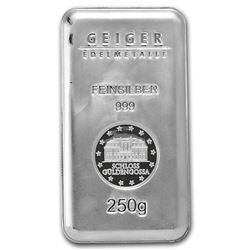 Genuine 250 gram Fine Silver Bar - Geiger Security Series