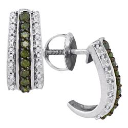 0.33 CTW Green Color Diamond Half J Hoop Earrings 10KT White Gold - REF-26Y9X