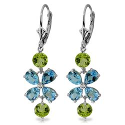 Genuine 5.32 ctw Blue Topaz & Peridot Earrings Jewelry 14KT White Gold - REF-50R3P