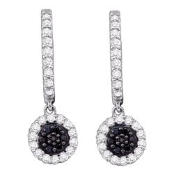 0.50 CTWBlack Color Diamond Hoop Flower Dangle Earrings 10KT White Gold - REF-34X4Y