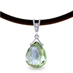 Genuine 6.51 ctw Green Amethyst & Diamond Necklace Jewelry 14KT White Gold - REF-26T9A
