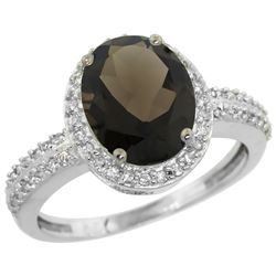 Natural 2.56 ctw Smoky-topaz & Diamond Engagement Ring 10K White Gold - REF-32V7F