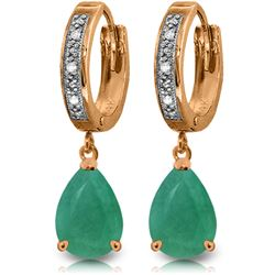 Genuine 2.03 ctw Emerald & Diamond Earrings Jewelry 14KT Rose Gold - REF-69X7M