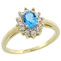Natural 0.67 ctw Swiss-blue-topaz & Diamond Engagement Ring 10K Yellow Gold - REF-38M8H