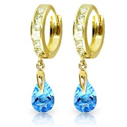 Genuine 4.2 ctw White Topaz & Blue Topaz Earrings Jewelry 14KT Yellow Gold - REF-51T5A