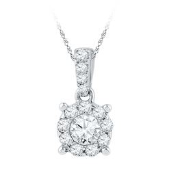 0.50 CTWDiamond Solitaire Circle Pendant 10KT White Gold - REF-52X4Y