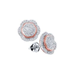 0.35 CTW Diamond Octagon Cluster Earrings 10KT Two-tone Gold - REF-30M2H