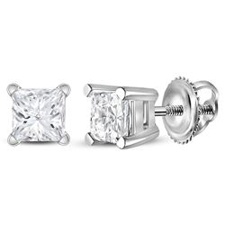 0.90 CTWPrincess Diamond Solitaire Stud Earrings 14KT White Gold - REF-127X4Y