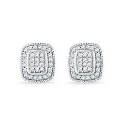 0.25 CTW Diamond Square Cluster Stud Earrings 10KT White Gold - REF-19H4M