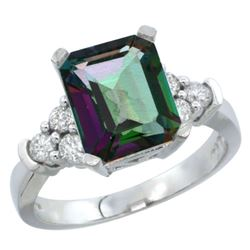 Natural 2.86 ctw mystic-topaz & Diamond Engagement Ring 10K White Gold - REF-53H5W