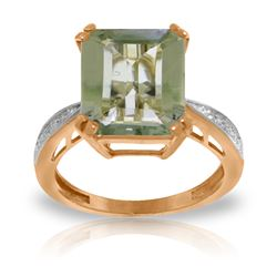 Genuine 5.62 ctw Green Amethyst & Diamond Ring Jewelry 14KT Rose Gold - REF-82M9T