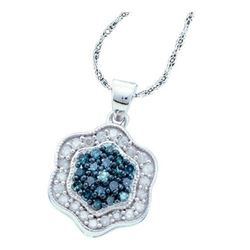 0.50 CTWBlue Color Diamond Hexagon Cluster Pendant 10KT White Gold - REF-25K4W