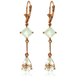 Genuine 3.75 ctw Aquamarine Earrings Jewelry 14KT Rose Gold - REF-47K6V