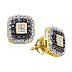 0.50 CTWPrincess Black Color Diamond Square Earrings 14KT Yellow Gold - REF-41M9H