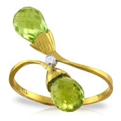 Genuine 2.52 ctw Peridot & Diamond Ring Jewelry 14KT Yellow Gold - REF-25X6M