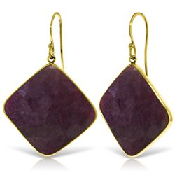 Genuine 40.5 ctw Ruby Earrings Jewelry 14KT Yellow Gold - REF-109K3V
