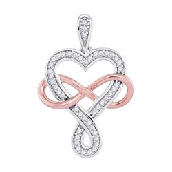 0.12 CTW Diamond Heart Infinity Pendant 10KT Two-tone Gold - REF-14X9Y
