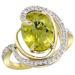 Natural 6.53 ctw lemon-quartz & Diamond Engagement Ring 14K Yellow Gold - REF-70G6M