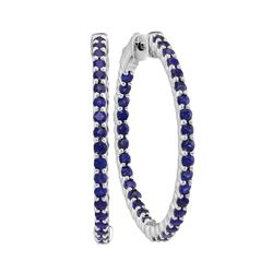 2.33 CTW Natural Blue Sapphire Hoop Earrings 14KT White Gold - REF-82N4F