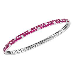 3.34 CTW Ruby Diamond Double Row Bangle Bracelet 18KT White Gold - REF-232K4W