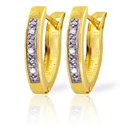 Genuine 0.04 ctw Diamond Anniversary Earrings Jewelry 14KT Yellow Gold - REF-38H2X