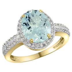 Natural 2.56 ctw Aquamarine & Diamond Engagement Ring 14K Yellow Gold - REF-52M2H