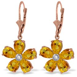 Genuine 4.43 ctw Citrine & Diamond Earrings Jewelry 14KT Rose Gold - REF-49K8V