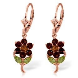 Genuine 2.12 ctw Multi-gemstones Earrings Jewelry 14KT Rose Gold - REF-42N4R