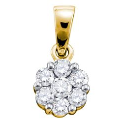 0.25 CTW Diamond Flower Cluster Pendant 14KT Yellow Gold - REF-18H7M