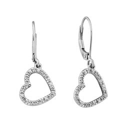 0.06 CTW Diamond Heart Love Dangle Earrings 14KT White Gold - REF-19X4Y