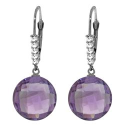 Genuine 10.75 ctw Amethyst & Diamond Earrings Jewelry 14KT White Gold - REF-37V8W