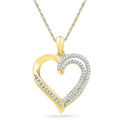 0.25 CTW Diamond Open-center Heart Pendant 10KT Yellow Gold - REF-22F4N