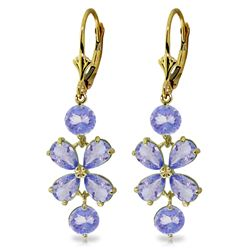 Genuine 5.32 ctw Tanzanite Earrings Jewelry 14KT Yellow Gold - REF-75Y2F